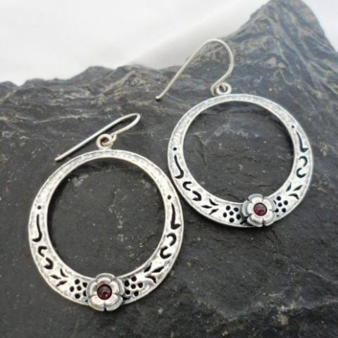 Sterling Silver Filigree Garnet Earrings with Flower