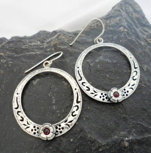 Sterling Silver Filigree Garnet Earrings with Flower