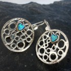 Sterling Silver Round Filigree Earrings with Heart Shape Opals