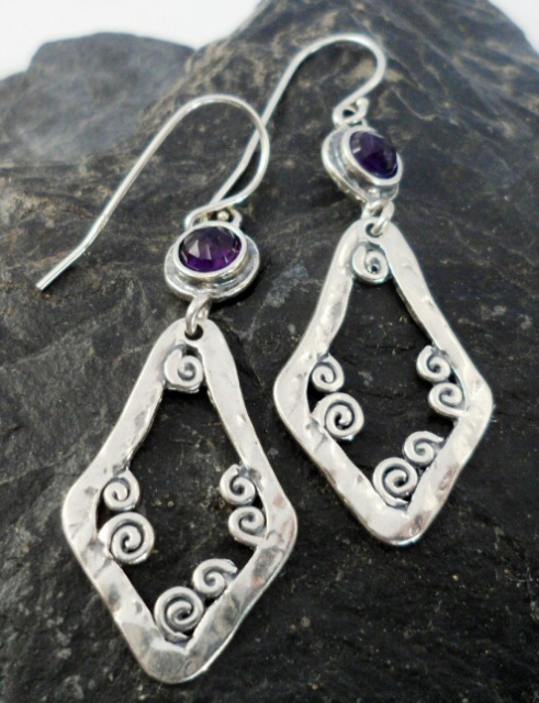 Sterling Silver Amethyst Drop Triangular Drop Earrings