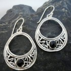 Filigree Sterling Silver Faceted Black Onyx Tear-drop Earrings
