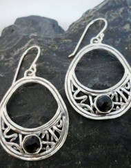 Filigree Sterling Silver Faceted Black Onyx Tear-drop Earrings