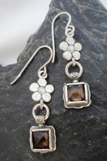 Sterling Silver Smoky Quartz Drop Earrings with Five Petaled Flower