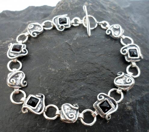 Sterling Silver Black Onyx Link Bracelet