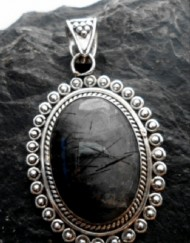 Sterling Silver Large Oval Black Rutilated Quartz Pendant ~Made in India