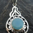 Sterling Silver Filigree Pendant with Large Round Faceted Blue Chalcedony Gemstone ~Designed in India