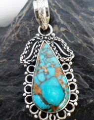 Sterling Silver Filigree Tear-Drop Mohave Turquoise Pendant ~Designed in India