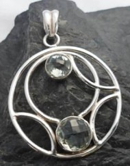 Sterling Silver Large Round Pendant with Two Prasiolite Gemstones