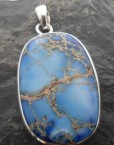 Large Oval Sterling Silver Blue Tortoise Turquoise Pendant ~Designed and made in India
