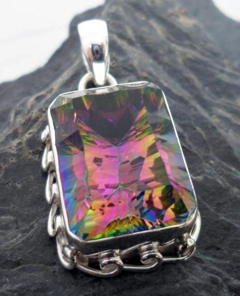 Sterling Silver Emerald Cut Mystic Fire Topaz Rectangular Pendant ~Designed in India, $54.00