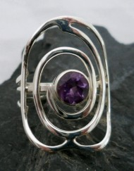 Sterling Silver Ring with Round Faceted Amethyst ~size 9