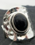 Hammered Sterling Silver Split Ring with Oval Black Onyx Stone ~adjustable sizing ~Designed in India