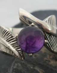 Sterling Silver Feather Ring with Amethyst Cabochon ~size 8.50 ~Designed and made in India