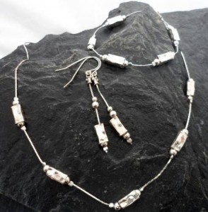 Dangly Hammered Sterling Silver Rectangular Bead Earrings and Necklace Set