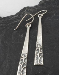 Hammered Sterling Silver Long Drop Calla Lily Earrings