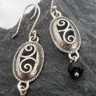 Filigree Sterling Silver Oval Drop Onyx Earrings
