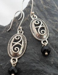 Filigree Sterling Silver Oval Drop Onyx Earrings