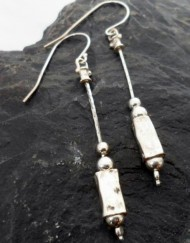 Dangly Hammered Sterling Silver Rectangular Bead Earrings