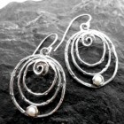 Sterling Silver Triple Oval Pearl and Grape Vine Textured Earrings