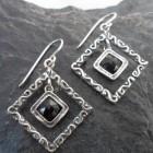 Textured Diamond Shape Sterling Silver Black Onyx Drop Earrings