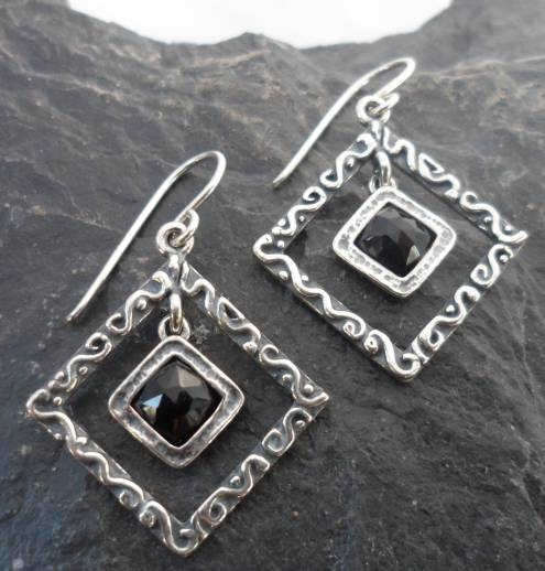 Textured Diamond Shape Sterling Silver Black Onyx Drop Earrings