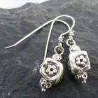 Sterling Silver Flower Cube Bead Earrings