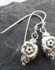 Sterling Silver Flower Cube Bead Earrings