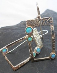 Sterling Silver Asian Inspired Earrings with Three Opals