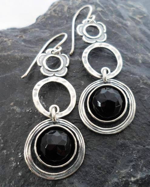Sterling Silver Faceted Onyx Drop Earrings with Circles and Flowers