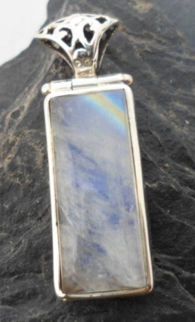 Sterling Silver Rectangular Rainbow Moonstone Pendant ~Designed in India, $42.00