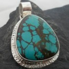 Sterling Silver Large Tear-drop Shape Turquoise Gemstone Pendant ~Designed in India, $54.00