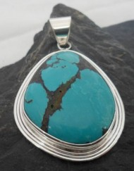 Sterling Silver Large Turquoise Gemstone Pendant Designed and Made in India, $56.00