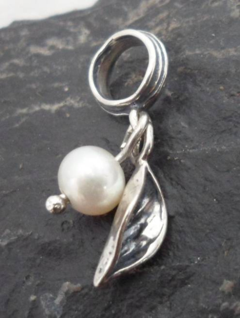 Sterling Silver Pearl and Leaf Charm