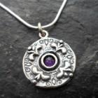 Sterling Silver Purple Amethyst Fleur-de-lis Pendant Necklace