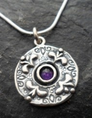 Sterling Silver Purple Amethyst Fleur-de-lis Pendant Necklace