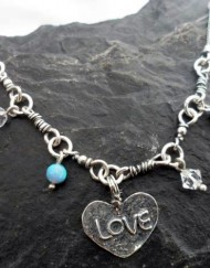 Sterling Silver Heart Opals and Crystal Necklace