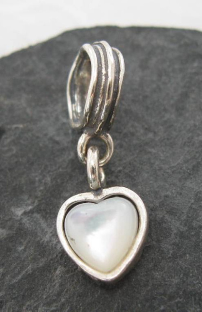 Sterling Silver Mother of Pearl Heart Charm