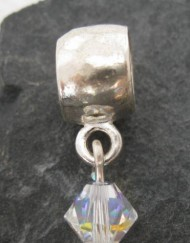Hammered Sterling Silver Diamond Shape Swarovski Crystal Charm