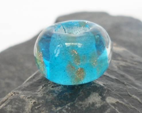 Teal with Gold Flecks Venetian Glass Bead
