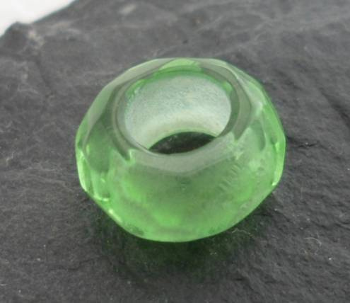 Soft Green Faceted Glass Bead