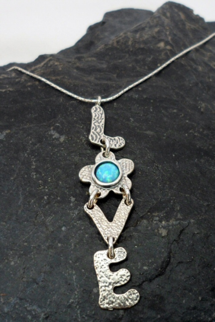 Sterling Silver Opal Love Necklace