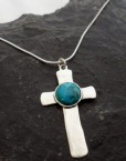 Sterling Silver Turquoise Cross Pendant Necklace