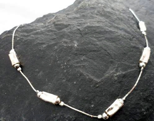 Hammered Sterling Silver Necklace with Long Rectangular Beads