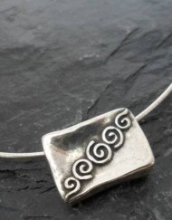 Hammered Sterling Silver Swirl Patterned Pendant Necklace