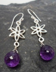 Sterling Silver Deep Purple Briollete Amethyst Flower Earrings