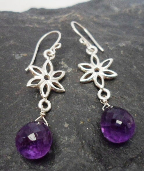 Sterling Silver Deep Purple Briollete Amethyst Flower Earrings