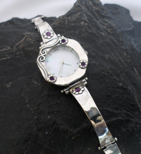 Sterling Silver Amethyst Watch