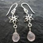Sterling Silver Briollete Shaped Rose Quartz Flower Earrings