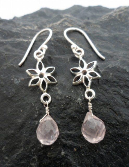 Sterling Silver Briollete Shaped Rose Quartz Flower Earrings