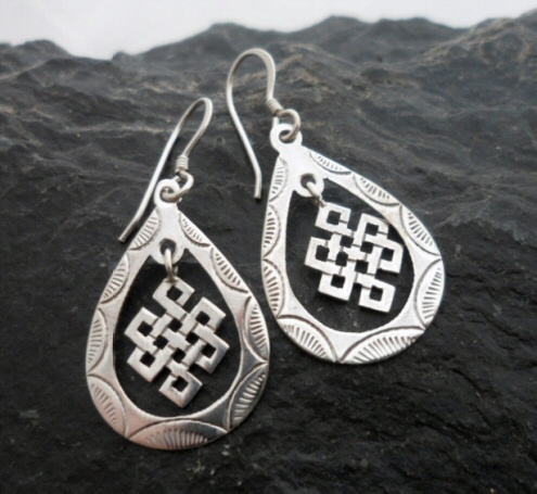 Sterling Silver Celtic Infinity Knot Tear-Drop Earrings